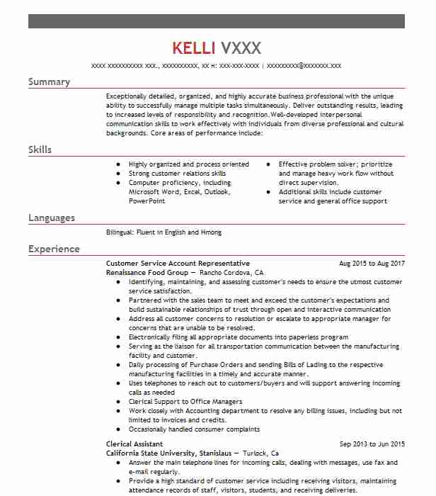 clerical resume objectives resume sample livecareer