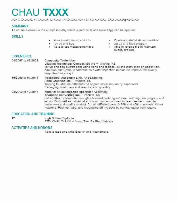 Composite Technician Resume Sample | Technician Resumes | LiveCareer