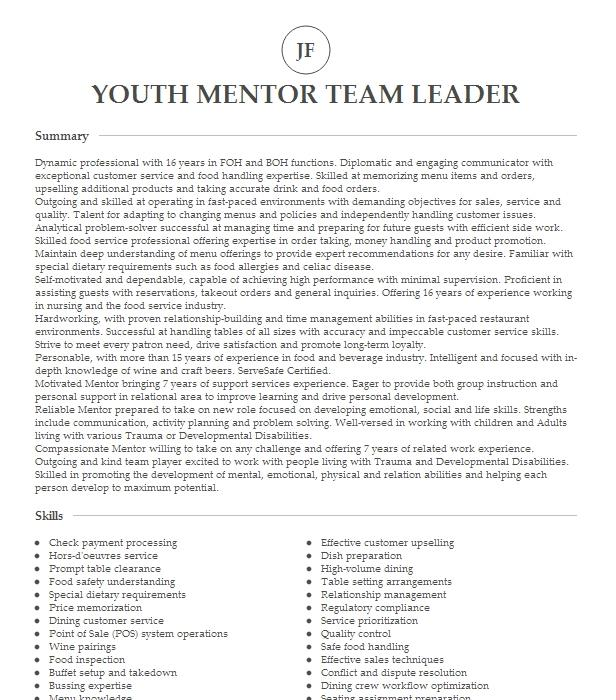 youth mentor resume example personal mentor