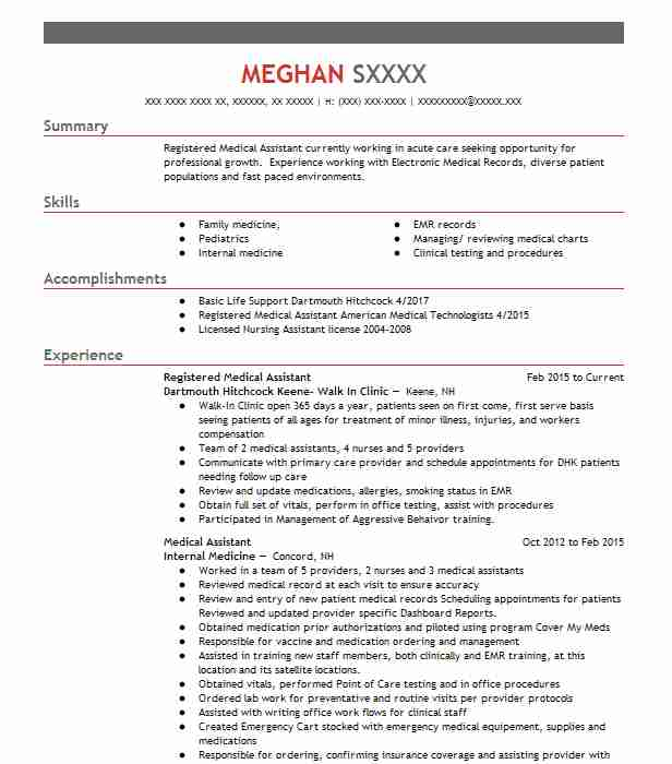 64 Physician And Medical Assistants Resume Examples in New Hampshire ...