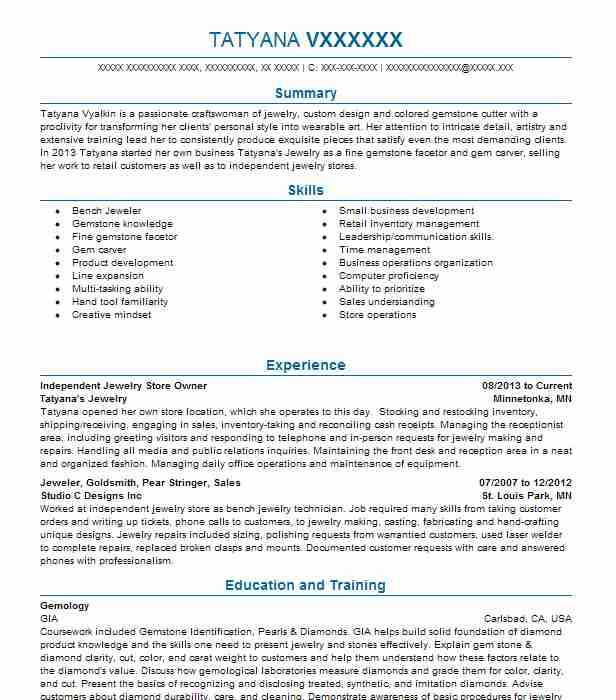 jewelry store manager resume example alex babayev