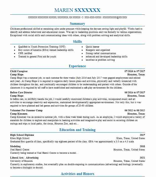 child caregiver resume sample