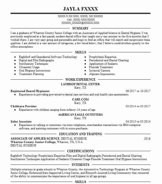 registered dental hygienist - Dental Hygiene Resume