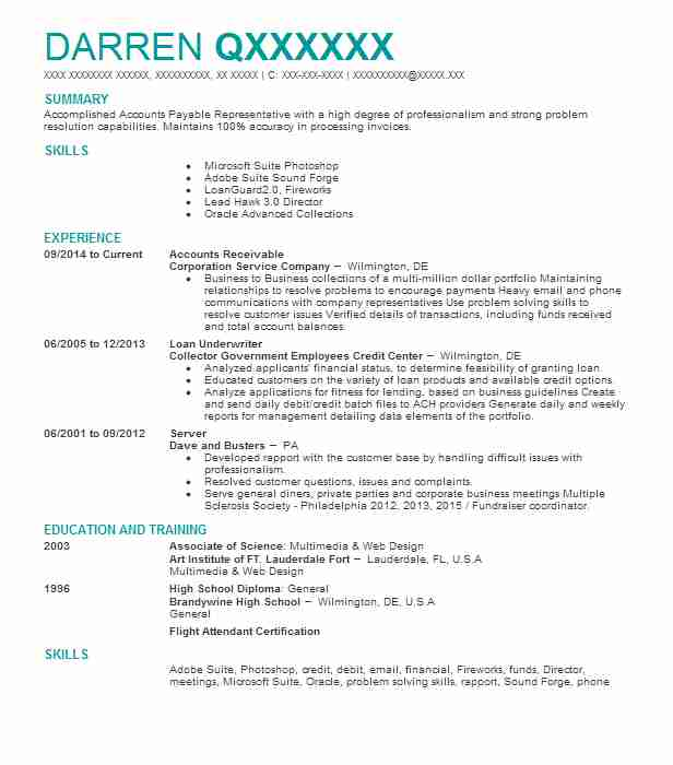 174 Accounts Payable/Receivable (Accounting And Finance) Resume ...