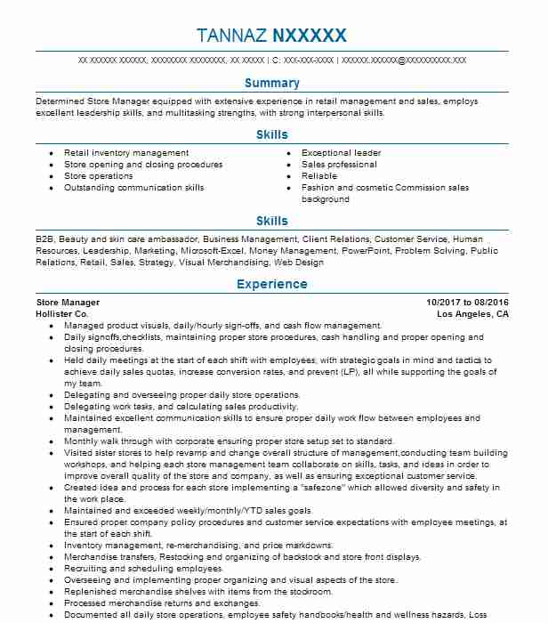 Store Manager Objectives | Resume Objective | LiveCareer