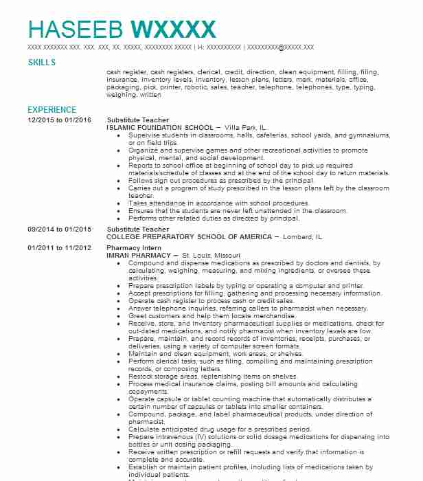 Awesome Substitute Teacher  Pharmacy Manager Resume