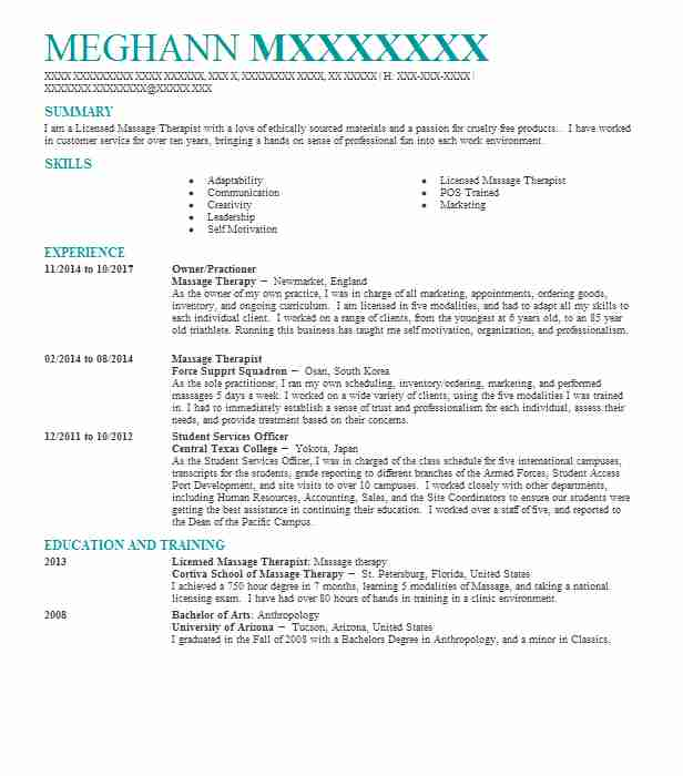 96 massage therapy  beauty and spa  resume examples in