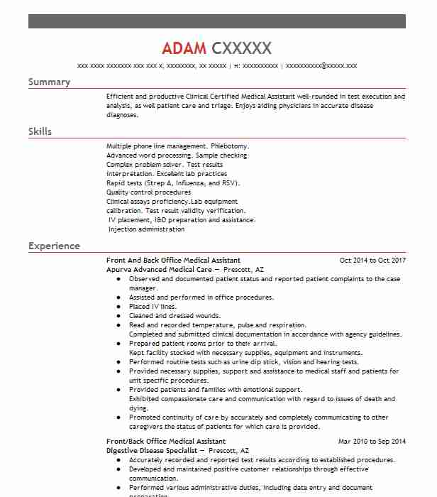 Medical Assistant Front Back Office Resume Example Cushingberry Turner Turner Med Co Fresno California