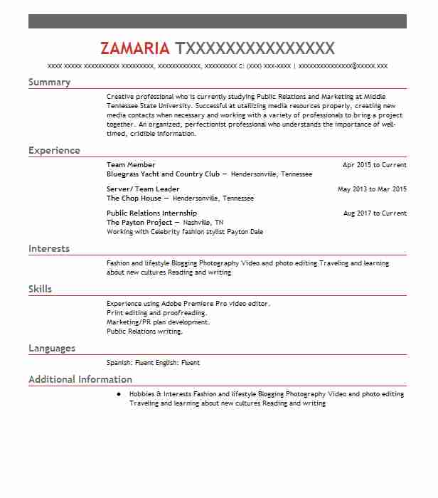 Team Member  Campaign Manager Resume