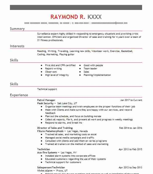 resumes for security officers