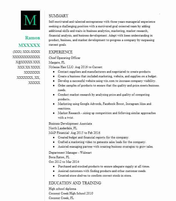 chief operating officer resume sample