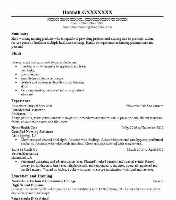 Medical Surgical Nurse Resume Sample: 30264 Licensed Practical And Vocational Nurses Resume