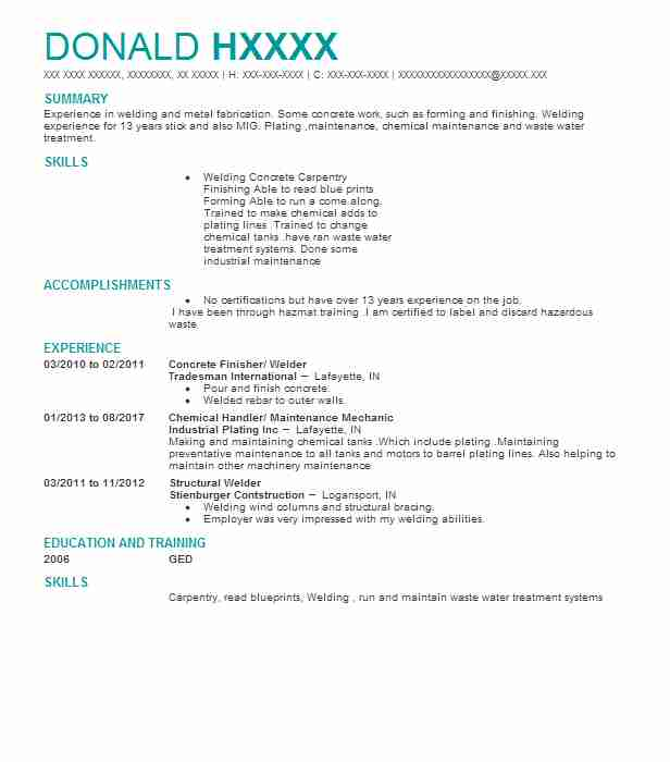 welder resume samples concrete finisher welder - Welder Resume Examples