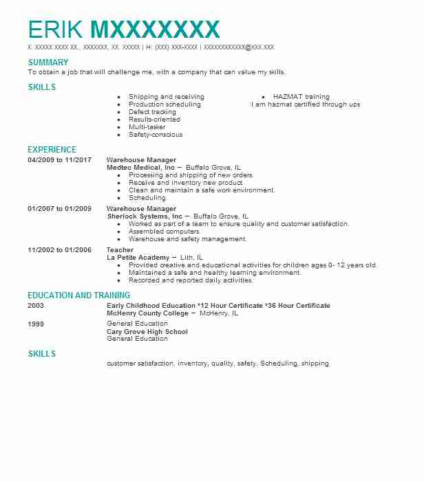 warehouse manager - Parts Manager Resume