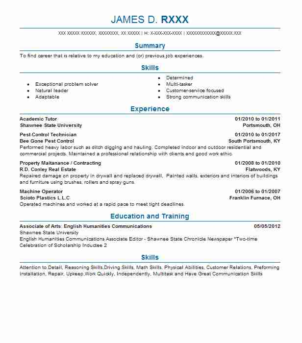 Academic Tutor  Laborer Resume