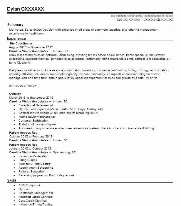 10253 optometry resume examples