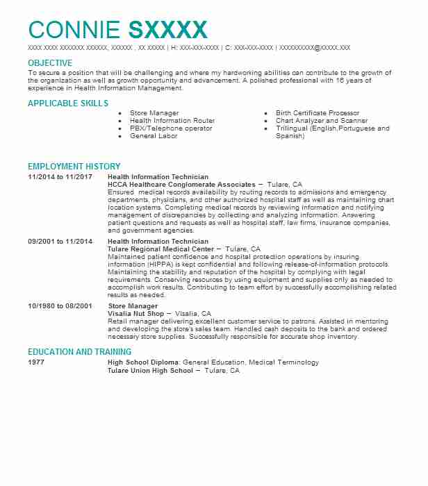 116427484_171954265 Sample Health Information Technician Management Resume on civil engineering, dialysis patient care, building maintenance, automotive service, oil field, for auto body, qc laboratory, cvs pharmacy,