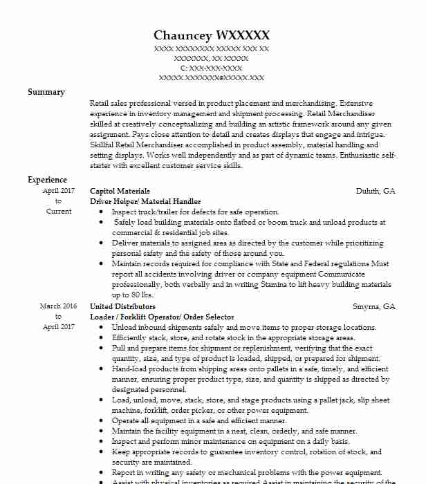Order picker job description resume