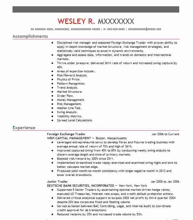 Foreign Exchange Trader Resume Sample | LiveCareer