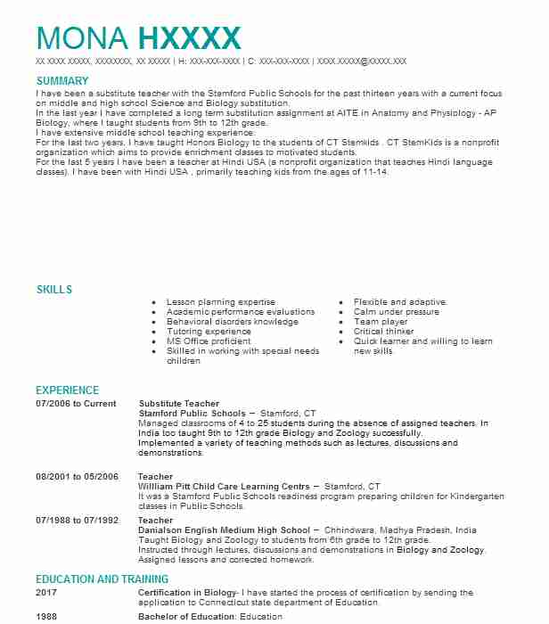 258 Middle School Resume Examples In Connecticut Livecareer
