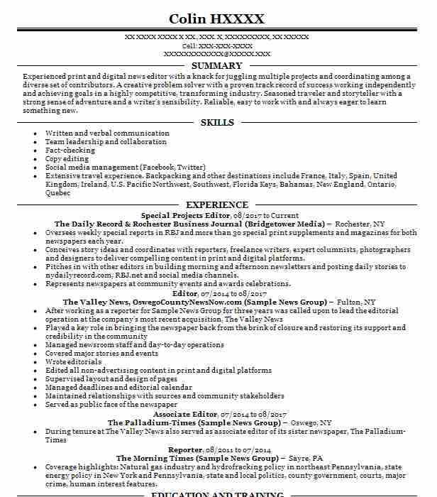 5096 editing resume examples entertainment and media resumes