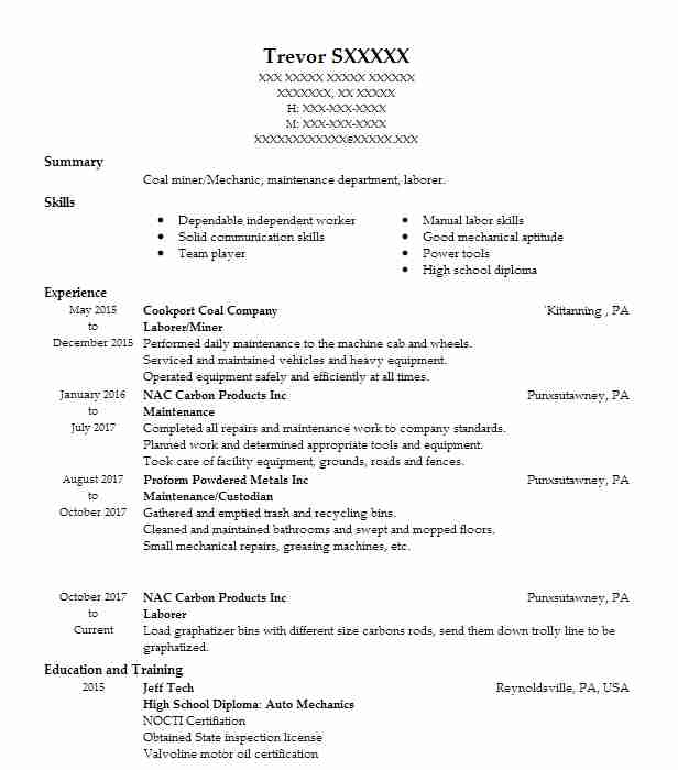 Laborerminer Resume Example Cookport Coal Company Timblin