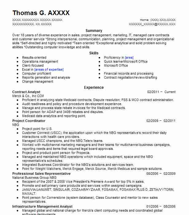 contract analyst resume sample