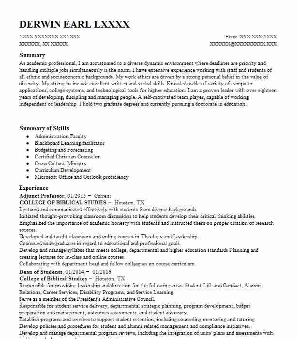 adjunct professor resume sample resumes misc livecareer