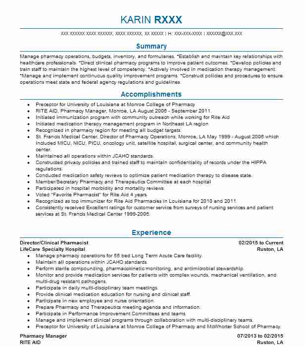 Pharmacists Resume Examples  Pharmacy Resumes  Livecareer