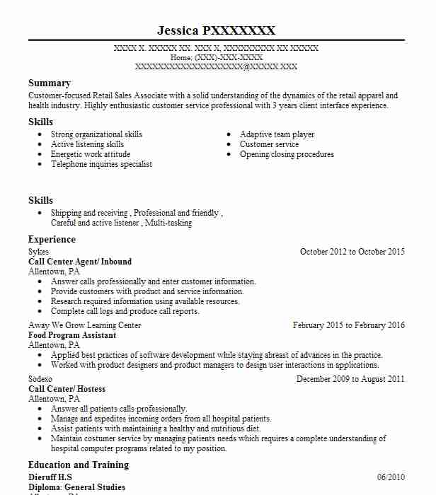 find resume examples in allentown  pa