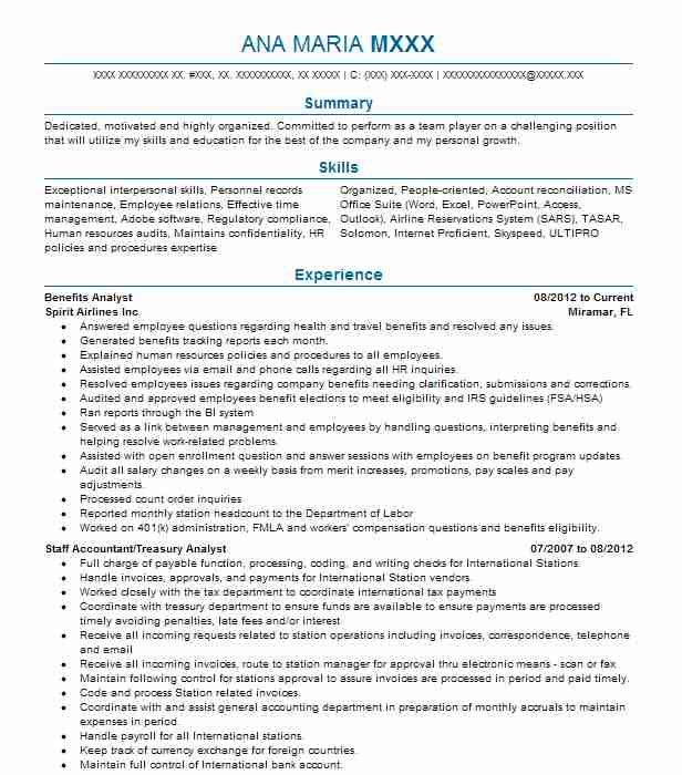 Benefits Analyst Resume Sample Analyst Resumes Livecareer