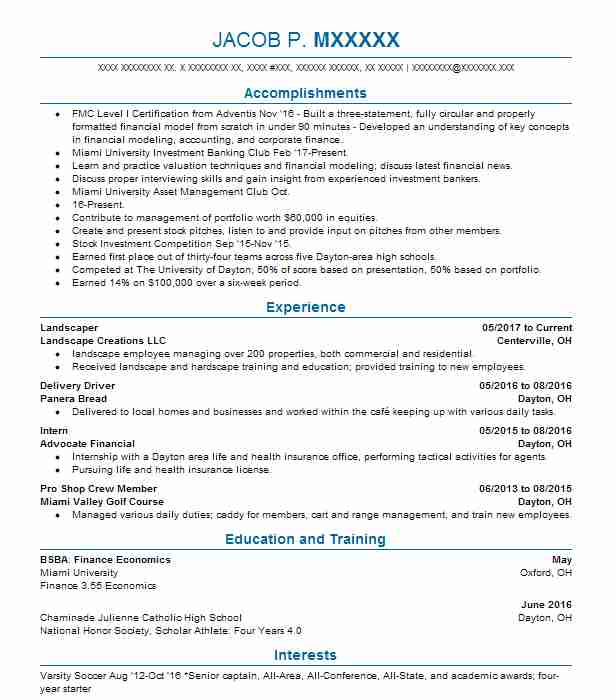 Landscaper  Investment Banking Analyst Resume