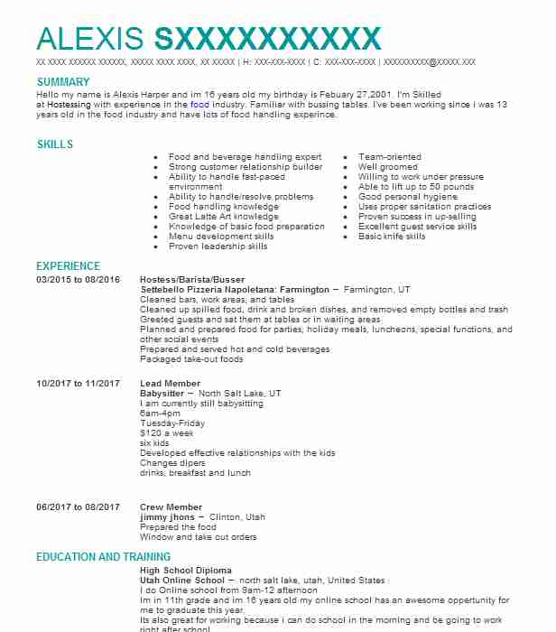 70 HostsHostesses Resume Examples in Utah LiveCareer