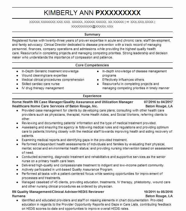 Home Health RN Case Manager/Quality Assurance And Utilization Manager  Case Management Resume