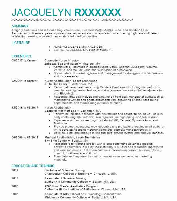 Aesthetic Nurse Injector Resume