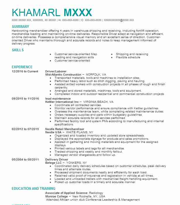 Merchandiser Resume Samples