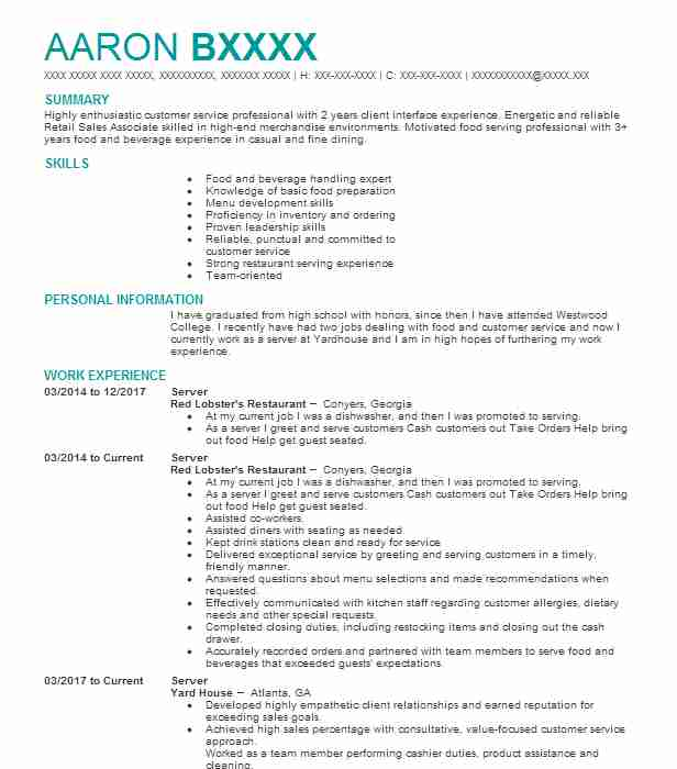 what is a good objective for a restaurant resume