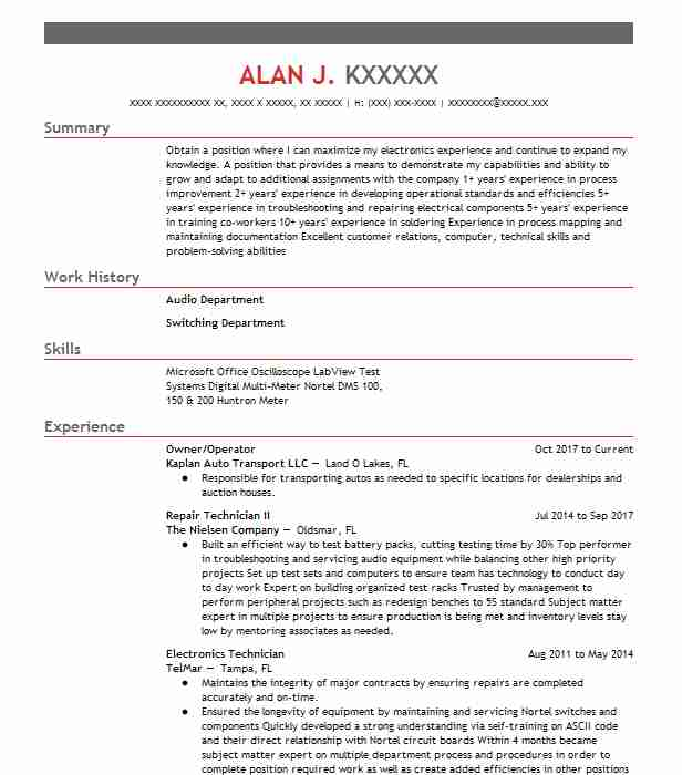 Maintenance electrician resume example marietta co los angeles owneroperator malvernweather