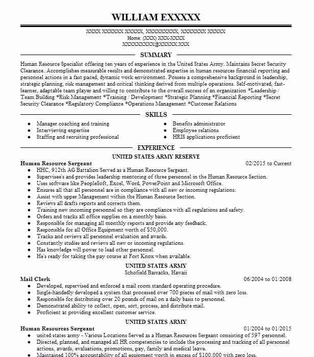 human resources sergeant resume example u s  army