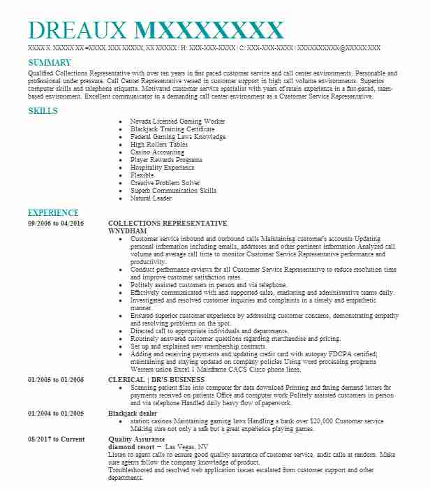 collections representative resume sample livecareer