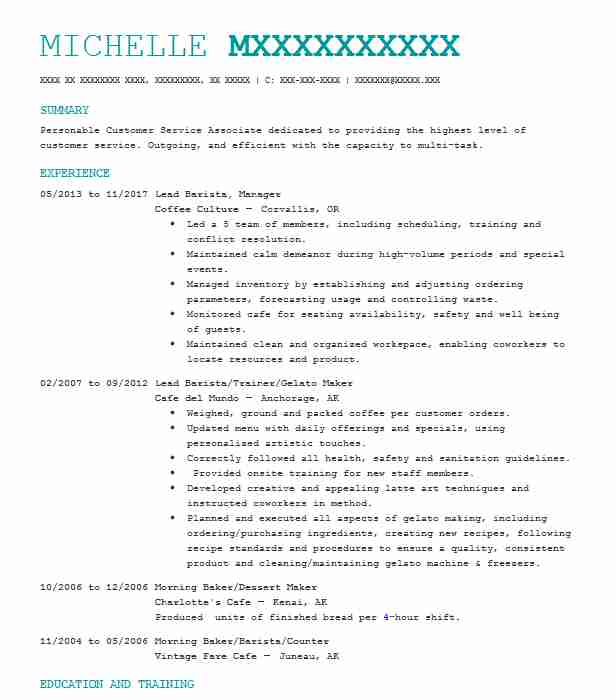 OwnerBaker Resume Example Mccrumbles Old World Pies Blacksburg