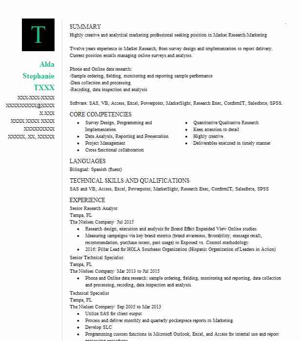senior research manager resume example phoenix marketing