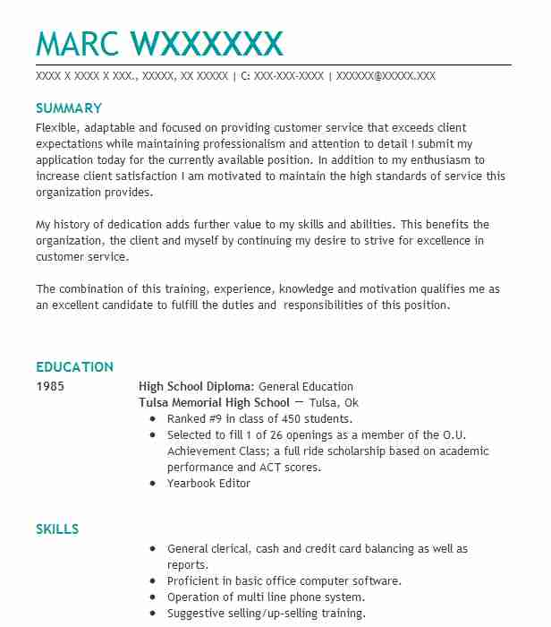 find resume examples in tulsa  ok