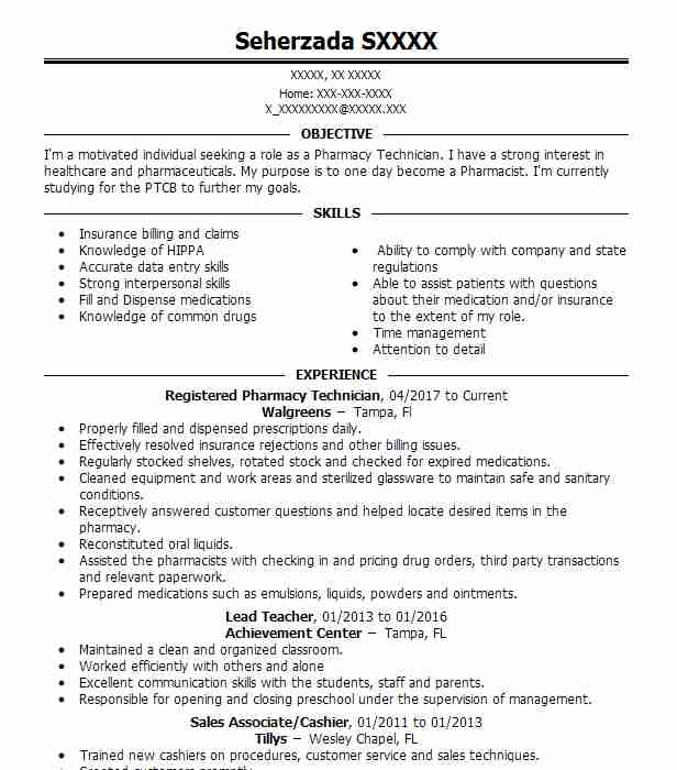 Pharmacy Technicians Resume Examples  Pharmacy Resumes