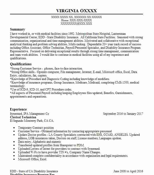 Create My Resume  Resume For Clerical Position