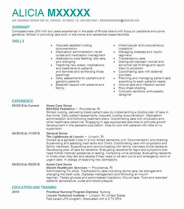 Home Care Nurse Resume Sample Nursing Resumes Livecareer
