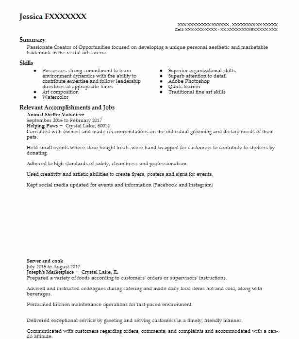 animal shelter volunteer resume sample