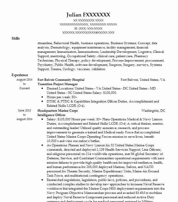 transition project manager resume sample