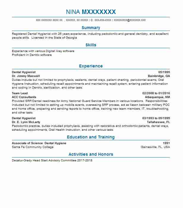Resume Dental Hygienist