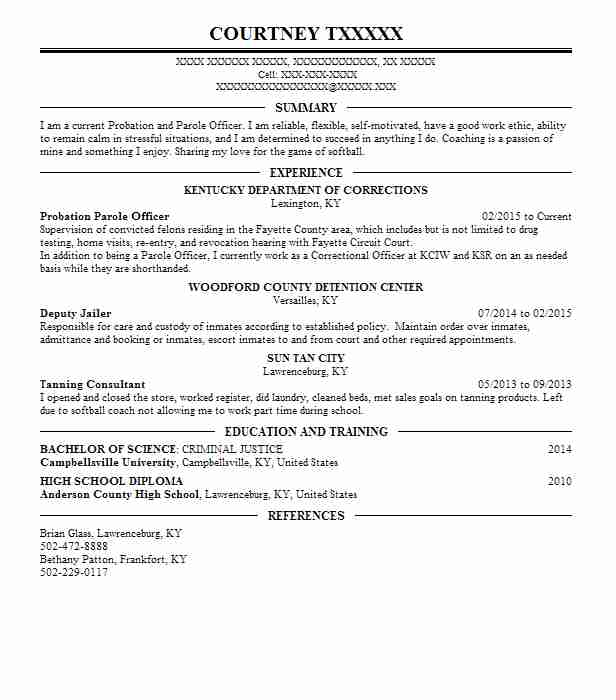 probation parole officer probation and parole officer sample resume - Probation And Parole Officer Sample Resume